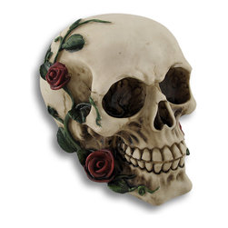 Zeckos - Morbidly Elegant Human Skull with Rose Vines Statue - Add morbid elegance to your decor with this wickedly awesome skull statue. It has a natural, bone-like finish, and hand painted red rose vines climbing and blossoming up the sides that appear to be growing from the underside. Made of cold cast resin, the skull stands 4 1/2 inches tall, is 4 1/4 inches wide and 5 1/4 inches deep. It has a felt bottom to prevent scratching delicate surfaces. This would look amazing in a flower bed, is a fantastic Halloween decoration, and would make a great gift for any skull fancier