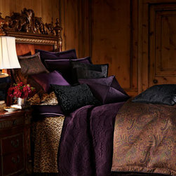 """Lauren Ralph Lauren - Lauren Ralph Lauren Black Silk Patchwork Pillow, 18""""Sq. - Jewel toned paisley linens made of lustrous cotton sateen are enriched with purple velvet accessories and an array of pillows with intricate embellishments. Cotton velvet shams have a grosgrain ribbon edge. Gathered paisley dust skirt has split corners...."""