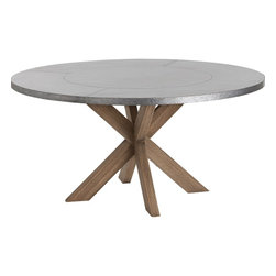 Kathy Kuo Home - Halton Industrial Loft Galvanized Iron Wood Circular Dining Table - This awesome workhorse of a dining table combines industrial construction with modern, abstract design.  The natural wood base is made up of angled legs that form an hourglass shape, to give you and your guests maximum legroom. The large, round tabletop is clad in distressed, galvanized steel to withstand any number of boisterous dinner parties in your urban loft or modern home.