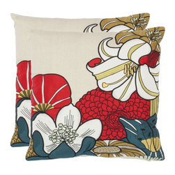Safavieh - Safavieh Shelley Pillow (2) X-2TES-8181-A109LIP - Stylized calla lilies in dramatic scale add excitement to neutral interiors in an accent pillow of 70% cotton and 30% linen. Coordinate with companion patterns for extra pizzazz.