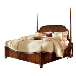 American Drew - American Drew Bob Mackie Signature Poster Bed in Rosewood - King - Soft gentle shapes, unique patterns, a mixture of materials and elegant details all describe the unique elements that are synonymous with a Bob Mackie gown; and these motifs are evident in the Bob Mackie Home ? Signature Collection by American Drew. The Signature collection is a fresh twist on classic designs. The inspiration and story is the creative use of materials and veneer work. The finish is a beautiful Rosewood color with veneer details in Primavera, Ebony, Walnut Burl, Mahogany and Cherry. Black Granite, Antiqued Mirror and Golden color accents add depth, drama and sparkle to this collection. Ribbon, lace, feather and starburst motifs add the 'dare to be noticed' flair to this group. Custom designed jewelry-like hardware, pierced brass collars and brass feet on selected items add a fine, finished look to each piece. Bob Mackie Home ? Signature Collection is high style, but scaled for today's homes. From creating a gracious Master Bedroom to a casual Dining or Occasional setting, this collection addresses every room in the home.