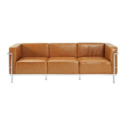 LexMod - Le Corbusier Style LC3 Sofa in Genuine Tan Leather - Urban life has always a quandary for designers. While the torrent of external stimuli surrounds, the designer is vested with the task of introducing calm to the scene. From out of the surging wave of progress, the most talented can fashion a forcefield of tranquility.