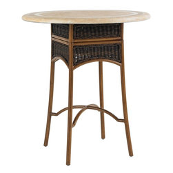 Lexington - Tommy Bahama Island Estate Lanai Bistro Table Base Hi/Low - The classic look of wicker, hand woven and twisted into complex, intricate patterns is not lost on the bistro or dining table base. The unique design allows you to remove the 6 inch section just below the top to lower for the counter stool, high for bar stools.