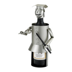 Old Dutch International - Chef Wine Bottle Buddy - Holds 750 ml. bottle. Black paint accents. Made from stainless steel. Gray finish. No assembly required. 12.5 in. L x 3.5 in. W x 6 in. H (3 lbs.)