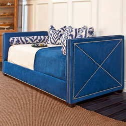AFK Harrison Bed, Arizona Indigo - In bold blue with nailheads, this daybed is not for the faint of heart. As I always say, it takes guts to create beauty. This piece is a gutsy choice that would really make a space.
