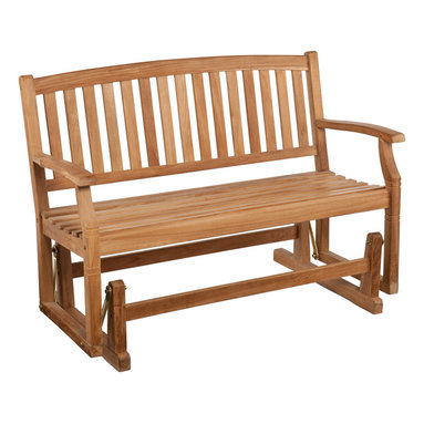 SEI - Gideon Teak Glider Bench - The neighbors will be jealous when they see this elegant glider bench in your yard!  Built to last from gorgeous teak wood, this bench will serve the family for many years to come. A smooth gliding mechanism makes this bench the perfect spot to relaxspread out, or cozy up with a friend!  A warm, unstained teak finish adds splendor and comfort to your outdoor living space. Teak naturally weathers over time to a handsome, silvery gray color if kept outdoors; regular application of teak oil will maintain the light brown color of the wood. Simply clean the wood with mild soap and water when necessary. The graceful yet rustic style of this glider bench is perfect for accenting your outdoor or patio area and works well with transitional to contemporary decor. The durable teak wood will provide elegant use for many years.
