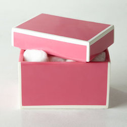 "Kassatex - Kassatex Soho Lidded Box - These sleek lacquer accessories come in your choice of Pink, Green, Blue, or Gray. Select color when ordering. Dimensions are approximate. Pump dispenser, 2.5""Sq. x 7.5""T. Wastebasket, 8""Sq. x 8""T. Tissue box cover, 5.5""Sq. Tray, 5.5""Sq. x 1""T. Lid..."