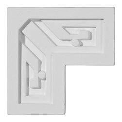 "Ekena Millwork - 3 3/8""W x 3 3/8""H x 7/8""P Eris Key Panel Moulding Corner - Our beautiful panel moulding and corners add a decorative, historic, feel to walls, ceilings, and furniture pieces.  They are made from a high density urethane which gives each piece the unique details that mimic that of traditional plaster and wood designs, but at a fraction of the weight.  This means a simple and easy installation for you.  The best part is you can make your own shapes and sizes by simply cutting the moulding piece down to size, and then butting them up to the decorative corners.  These are also commonly used for an inexpensive wainscot look."
