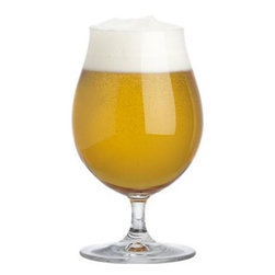 Spiegelau Stemmed Pilsner Glass - Wide body stemmed beer glasses capture the sparkling clarity of fine pilsners and pale lagers, tapering slightly to cultivate their distinctive foamy head. This essential drinking glass for beer lovers is manufactured in Germany.