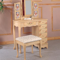 Coaster - 3-Pc Vanity Set - Includes vanity, mirror and stool. Traditional style. Curved crown swivel mirror. Hidden jewelry storage inside. Vanity with five side storage drawers. One center drawer. Made from wood. Vanity: 32 in. W x 16 in. D x 50.5 in. H. Stool: 18 in. W x 14.5 in. D x 17 in. H. Warranty