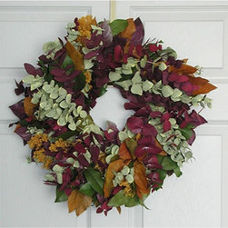 Margarita Eucalyptus Wreath - Spicy and fragrant with eucalyptus leaves, this wreath has a deeper tone than some other fall wreaths. It would be stunning on a front door.