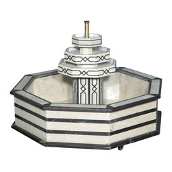 MBW Furniture - Vintage Mediterranean Mosaic Italian Marble Patio Garden Octagonal Water Fountai - Italian marble construction Hand crafted Casters for easy mobility Extremely heavy Breaks down into 5 pieces  Traditional style Condition:  Some areas may have imperfections such as blemishes, chips & discoloration but they only add patina to the fountain. Though a pump is attached underneath it, it may not work, also it would need a standard US ac plug for operation. You will need aquarium cement to make the pieces water tight in some areas.Sold as is.
