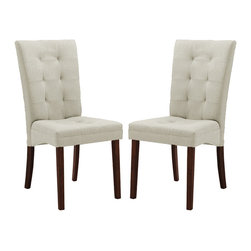 Wholesale Interiors - Upholstered Dining Chair - Set of 2 - Set of 2. Contemporary style. Polyurethane foam cushioning. Spot clean only. Warranty: 30 day limited. Made from rubberwood and twill fabric. Beige and dark brown color. Made in Malaysia. Assembly required. Seat height: 18.5 in.. Overall: 18 in. W x 24.4 in. D x 38 in. H (10 lbs.)We love the way this chair manages to work equally well in a home, an office or a lobby and we think you will too. This versatile style is a testament to its timelessness.
