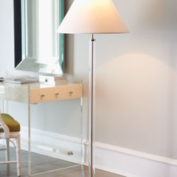 Clear Lucite Floor Lamp - So elegant in its simplicity, this beautiful lamp belongs in a bedroom or sitting room.