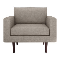 Bobby Berk Home - Brady Chair, Klein Mouse - With its mid century feel the Brady Collection is sophisticated yet restrained and would sit equally comfort- ably in rooms ranging from a living room to a dressing room to a foyer.