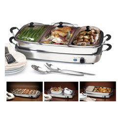 Elite - Stainless Steel Versatile TripleTray Buffet Server - This buffet server is great for parties and is sure to impress guests. It features stainless steel construction and the warming tray keeps food warm and ready.