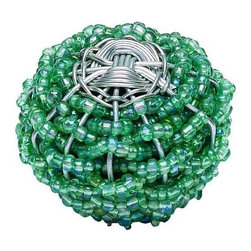 Atlas - LG Beaded Weave Cabinet Knob - 3168 (Set of 1 - Color: Aqua and SilverManufacturer SKU: 3168. Projection: 1.5 in.. Diameter: 2 in.. 2 in. L x 2 in. W