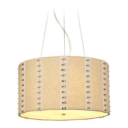 """LBL Lighting - LBL Glama Suspension 4-Light 20"""" Wide Pendant Light - The Glama Suspension pendant light from LBL Lightings brings some great style to any room. The fabric drum shade has hook and eyelet details for great visual texture. An internal opal glass diffuser spreads a warm even glow. Satin nickel finish accents complete the design of this versatile piece. Fabric drum shade with hook and eyelet accents. Satin nickel finish. From the Glama Suspension collection. Includes four 75 watt medium base E26 bulbs. 20"""" wide. 8"""" high. Includes 6 feet of cord.  Fabric drum shade with hook and eyelet accents.  Satin nickel finish.  From the Glama collection.  Includes four 75 watt medium base E26 bulbs.  20"""" wide.  8"""" high.  Includes 6 feet of cord."""