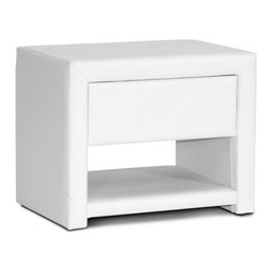 Baxton Studio - Upholstered Nightstand in White - Contemporary style. One drawer and one open shelf. Polyurethane foam padding. Wipe with a damp cloth. Thin layer of foam padding and white faux leather. Made from plywood and hardwood. Made in Malaysia. No assembly required. Drawer: 13.75 in. W x 10.75 in. D x 3.37 in. H. Overall: 19.5 in. W x 13.75 in. D x 16 in. H (18 lbs.)Hide all your bedtime necessities with style. Ideal for use alongside platform beds designed to rest very close to the floor.