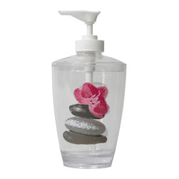 Printed Acrylic Soap Dispenser Spa Grey - This printed soap dispenser Spa for bathrooms is in clear acrylic with Pebbles and flower patterns. This soap dispenser is a lovely accent for any bathroom and its shape is flared upward with a diameter of 2.95-Inch and a height of 6.50-Inch. The top unscrews for refilling with soap or lotion. Wipe clean with a damp cloth. Color grey and pink. Accessorize your bathroom countertop in a trendy style with this charming soap dispenser! Complete your Spa decoration with other products of the same collection. Imported.