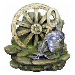 Yosemite Home Decor - Yosemite Home Decor Wagon Wheel with Bucket Polyresin Indoor / Outdoor Fountain - A bucket, wagon wheel, hose and other details create a charming Old World feel to this Yosemite Home Decor indoor/outdoor fountain. The aged look of the wheel is complimented by surrounding details, including moss on the rocks, for a realistic appeal. This polyresin fountain also features LED lights for modern flair.