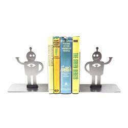 Robofriends Bookends - Who says robots can't love? These sweet guys are handmade from metal to support your books using the buddy system. Won't you make some room for them?