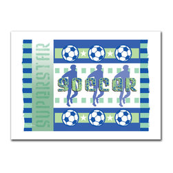 Trademark Art - Soccer Giclee Canvas Art by Grace Riley - 18 - Artist: Grace Riley. Title: Soccer. Gallery Wrapped Giclee Canvas Art. Canvas wraps around the sides and is secured to the back of the wooden frame. Frameless presentation of the finished painting. 24 x 18 x 2 (3.8 lbs.)