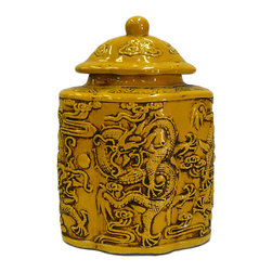 Golden Lotus - Chinese Yellow Relief Dragons Flower Shape Pottery Jar - This is a hand made ceramic jar with decent hand made motif of dragon on the body. The surface is glazed with yellow color.