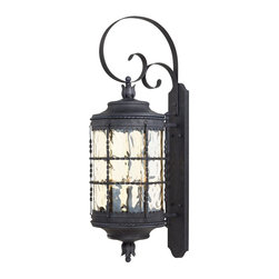 Minka Lavery - Minka Lavery Outdoor 8883-A39 Mallorca Spanish Iron 5 Light Wall Sconce - Champagne Hammered Glass Shade