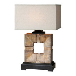Uttermost - Uttermost Mula Bamboo Table Lamp - Mula Bamboo Table Lamp by Uttermost Burnished Light Bamboo Finish Accented With Dark Rustic Bronze Details. The Rectangle Shade Is Oatmeal Linen Weather Resistant Fabric. For Indoor Or Outdoor Use.