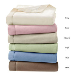 None - Simple Luxury Matte Satin Binding Polyester Microfleece Blanket - Wrap yourself up in this soft microfleece blanket. This blanket features a matte satin binding and is made from 100 percent polyester. Its solid pattern will complement any home bedding. You can choose from sage,mink,rose,wedgewood blue,and ivory.
