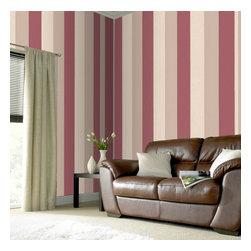 Graham & Brown - Java Wallpaper - Java design from the Origin collection is a striking wallpaper, each stripe is made with a different texture, and the fact that it can be hung either horizontally or vertically adds versatility dramatic red, cream and beige stripe wallpaper featuring wide stripes in various shades a bold but sophisticated style wallpaper, this is available in 4 other colours.