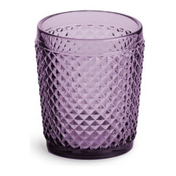 Rosanna Pressed Glass Double Old-Fashioned, Purple - The vintage-inspired pressed glass is so charming and would be a pretty addition to any table.