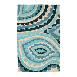 Trina Turk - Trina Turk Vivacious Blue Hook Rug - Colorful and full of charisma, the Vivacious hook rug by Trina Turk excites and delights with an oversized paisley print in ocean blues. Handcrafted with a focus on contemporary style for your kitchen, bath or living space. Rug measures 3' x 5'; 100% wool with cotton canvas backing; Rug pad recommended (not included)
