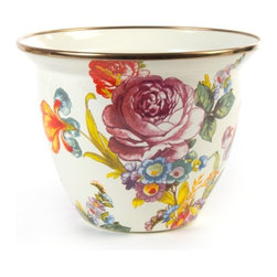 Flower Market Enamel Flower Pot - Large | MacKenzie-Childs - Add some flair to your flowers with a flared enamel pot. An inspired choice for your prized primroses, pansies or petunias.