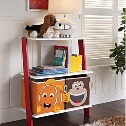 Altra - Children's 2-bin Ladder Bookcase - If your kid's bedroom is starting to feel like a zoo,let this adorable bookcase help tame the clutter. It has two open shelves with monkey and fish storage bins with white and red sides.