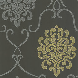 Decorline - Dl Accent Damask Wallpaper - A contemporary twist on a classic, this mod damask design wallpaper treats your walls to enticing and fresh texture effects. Sophisticated battleship grey is invigorated with silver and chartreuse. Each wallpaper bolt is 20.5 inches wide and 33 feet long, covering about 56 square feet. The pattern has a 25.2 inch repeat and a Straight match.