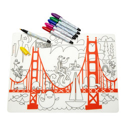 Modern-Twist - Kidz Fun on the Golden Gate and Markers - Keep your creative kiddo busy with this artistic placemat while you put the finishing touches on the meal. Six colorful dry-erase markers give your tiny Picasso plenty to work with bringing life to this iconic Northern California scene. The food-grade silicone is great for setting your family-friendly table and cleanup is easy with just a rinse or a wipe.