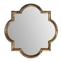 Uttermost - Lourosa Gold Mirror - Half circle, half square, this uniquely shaped gold-framed mirror has a fairy tale quality. Fun for a bathroom, entryway or just because, this is a mirror you will keep for a long time!