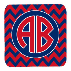 Caroline's Treasures - Chevron for Ole Miss Personalized 2 Initial Foam Coasters, Set of 4 - Foam Coaster - 3 1/2 inches by 3 1/2 inches. Permanently dyed and fade resistant. Great to keep water from your beverage off your table and add a bit of flair to a gatering.  Match with one of the insulated coolers or huggers for a nice gift pack.  Wash the coaster in the top of your dishwasher.  Design will not come off.  Made from our mouse pad material and is heat resistant.