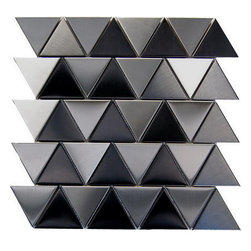 Oddysey Pyramids 12X12 Interlocking Blend - Triangle with black ,Stainless Steel Mosaic This Pyramid interlocking blend results in a stunning modern effect .This tile is ideal for steel back splashes, accent walls, fireplaces and more. The tiles in this sheet are mounted on a nylon mesh which allows for an easy installation.