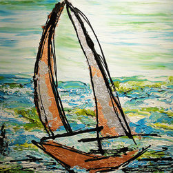 Yacht Splendor (Original) by Aneela Fazal - This is a heavily textured piece, the yacht itself sparkles with the silver, gold and bronze leaf applied on layers of 3 dimensional acrylic paint.