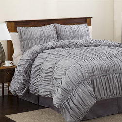 Lush Decor Silver Venetian 4-Piece Comforter Set - The soft and stormy gray of this comforter, along with its satiny creases, would be perfect for snuggling into on a rainy night — or any night.
