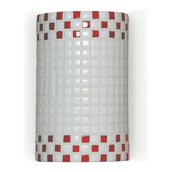 "A19 Lighting - Ladders Wall Sconce - Fun And Funky, The Checkers Wall Sconce Will Transport You Back To 1920S And 1930S, With Its High Gloss And Appealing Checker-Board Pattern.Height:9.5Width:6Depth:4Mounting Center:4.75Bulb Type:100 Watt Medium Base A19 E26 BaseNumber Of Bulbs:1American-Made Fused Glass And Ceramic Wall Sconce.Resistant To Rust And Corrosion.Suitable For For Damp Locations (Indoor And Outdoor)..Ada Compliant (Americans With Disabilities Act 4"" Regulation For Public Walks And Corridors)Due To The Handmade Nature Of A19 Products, It Is Not Unreasonable To Expect Slight Differences From Item To Item."