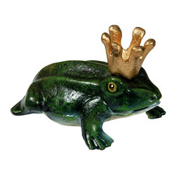 Prince Charming Bottle Opener - The whimsy and charm commonly reserved for the garden come to the dining room or bar with the Prince Charming Bottle Opener. Made from solid cast iron and hand-painted with a lifelike coat of vivid green, the solemn frog whose figure makes up the weighty bottle opener is detailed with a metallic gold crown. The designer opener is a delightful gift and a barware necessity.