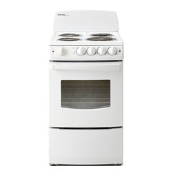 "Danby - 20"" Electric Range, Coil Elements, Glass Door Window, Manual Clean - The Danby Designer DER201W 20 In. Electric Range, in white, is ultra compact and measures only 20 inches wide. Taking up a minimum amount of space, this range is the perfect addition to trailers, cottages or efficiency apartments. It features front-mounted push and turn safety knobs and hot surface indicator lights. The lift-up porcelain cooktop has one 8-inch 2100-watt coil element for quick boiling and three 6-inch 1250-watt coil elements. Each element has a removable drip bowl for easy cleaning. The 2.4 cu. Ft. Electric oven has a large oven window, interior oven light, two oven racks with four adjustable positions and a powerful waist-high broiler with 2400 watts of cooking power. It even includes a 3-piece broiler pan!Space saving 20-inch wide electric range"