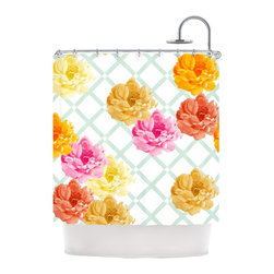 "Kess InHouse - Pellerina Design ""Trellis Peonies"" Yellow Flowers Shower Curtain - Finally waterproof artwork for the bathroom, otherwise known as our limited edition Kess InHouse shower curtain. This shower curtain is so artistic and inventive, you'd better get used to dropping the soap. We're so lucky to have so many wonderful artists that you'll probably want to order more than one and switch them every season. You're sure to impress your guests with your bathroom gallery in addition to your loveable shower singing."