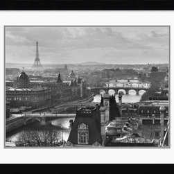 Amanti Art - River Seine and the City of Paris Framed Print by Peter Turnley - With the River Seine in the foreground and the Eiffel Tower in the distance photographer Peter Turnley captures two of Paris' signature landmarks.
