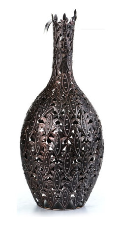Concepts Life - Handmade Bravura Crown Vase - How do you bring a regal feel to an otherwise ordinary space? With these majestic vases (with faux flowers or simply as an accent piece on its own), your home becomes a royal extension of your stylistic vision.  Iron decorative cut-out vase. Hand-welded and painted black. Stylish blend of modern and romantic. Weight: 3 lbs.