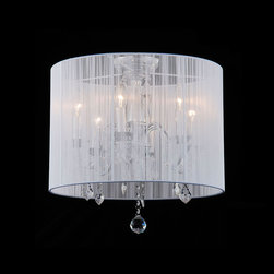 None - Indoor 6-light White Shade Chrome Flushmount Chandelier - Your home decor is sure to look great with this sheer six-light chandelier. This indoor light features a lovely sheer white shade with an enticing vertical line pattern that lets light filter through in an interesting way, adding ambiance.